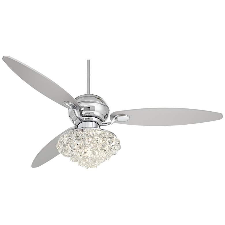"60"" Casa Spyder Polished Chrome and Crystal LED Ceiling Fan"
