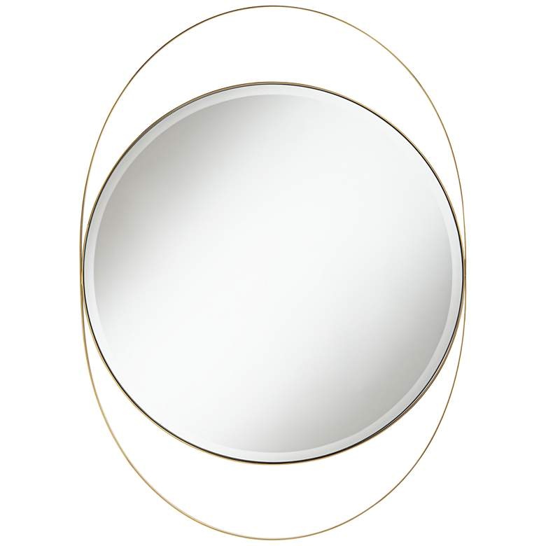 "Possini Euro Ciara Gold 27 1/2"" x 39"" Oval Wall Mirror"