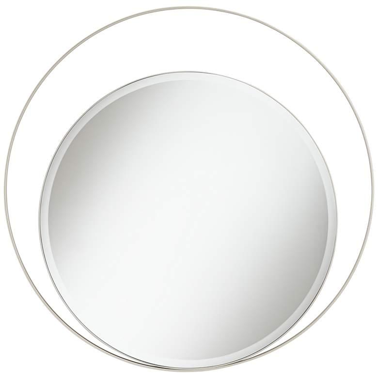 "Possini Euro Keri 31 1/2"" Silver Asymmetrical Wall Mirror"