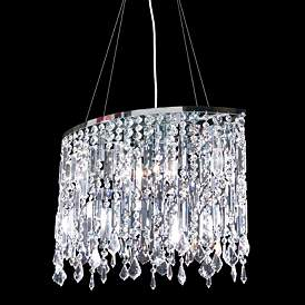 """Contemporary 20"""" Wide Silver and Crystal Dining Chandelier"""