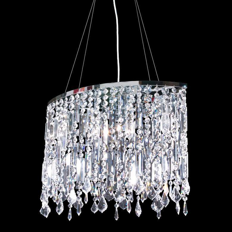 "Contemporary 20"" Wide Silver and Crystal Dining Chandelier"