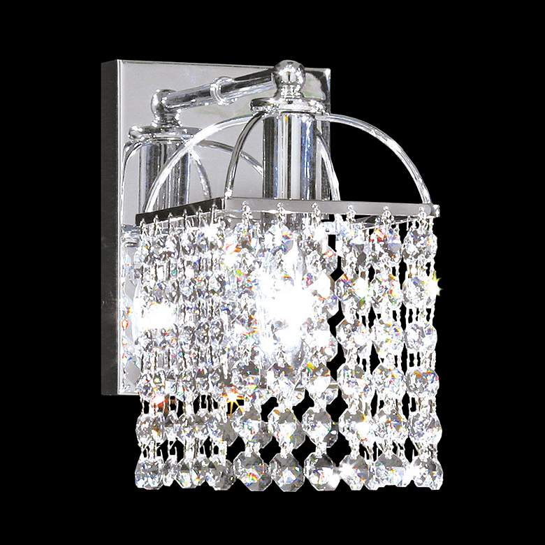 "Contemporary 8"" High Silver and Crystal Wall Sconce"