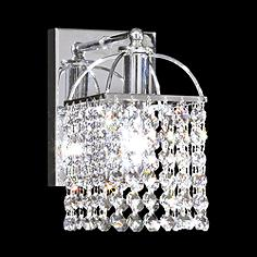 """Contemporary 8"""" High Silver and Crystal Wall Sconce"""