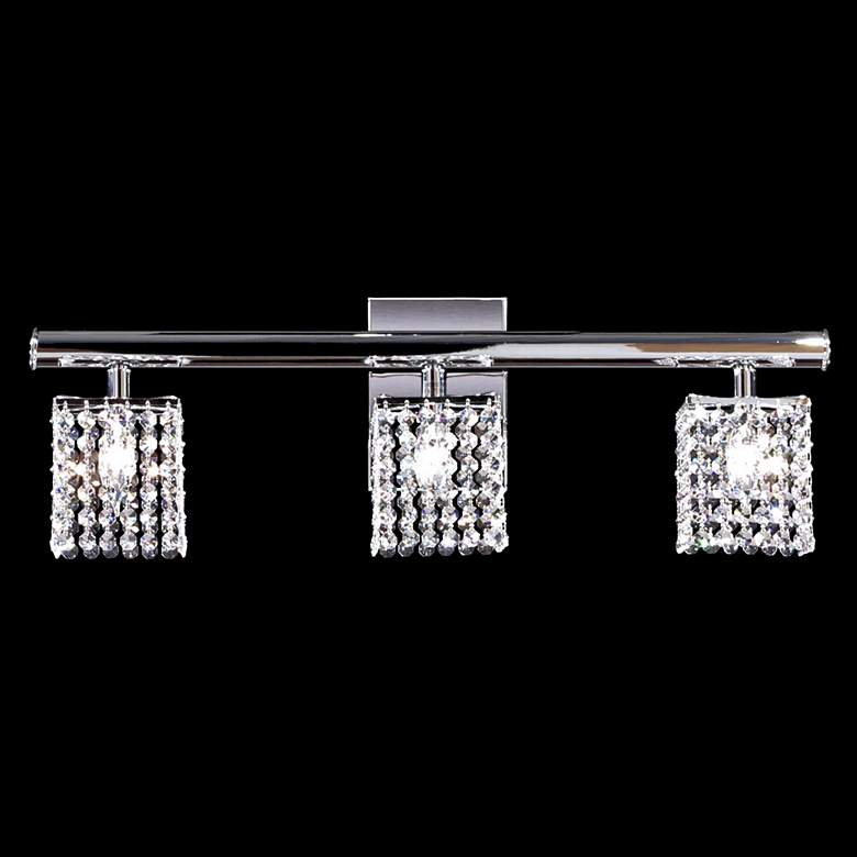 "Contemporary 27"" Wide Silver 3-Light Crystal Bath Light"