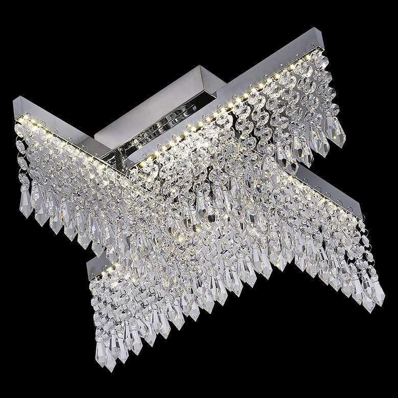 """James R. Moder Galaxy 17""""W Silver LED Crystal"""