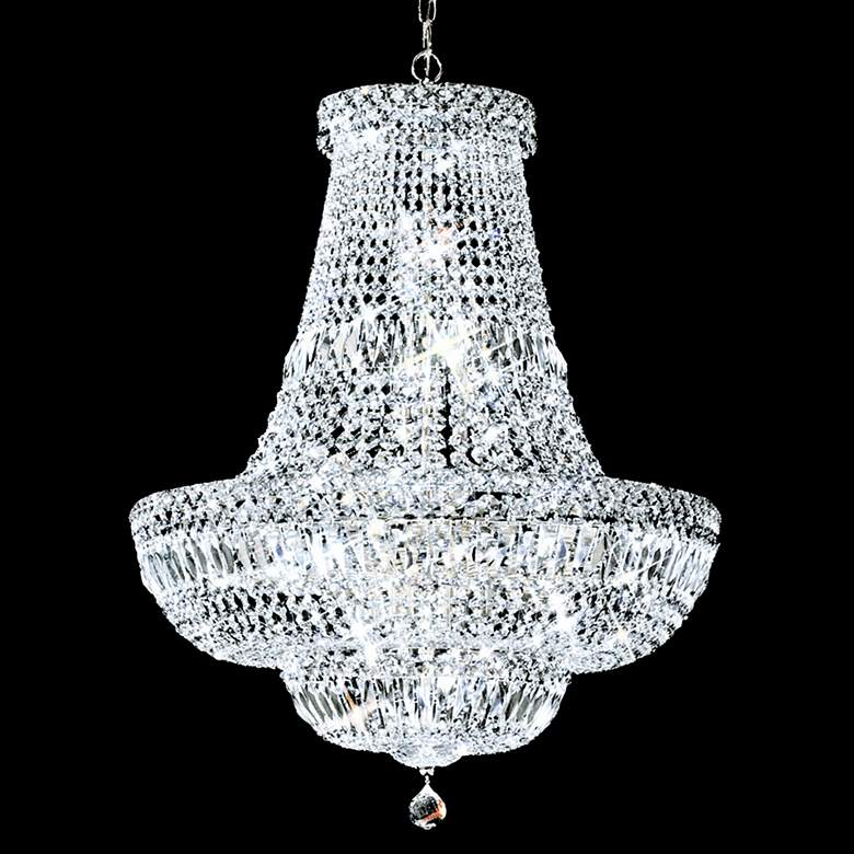 """James R. Moder Empire 22"""" Wide Silver and Crystal Chandelier"""