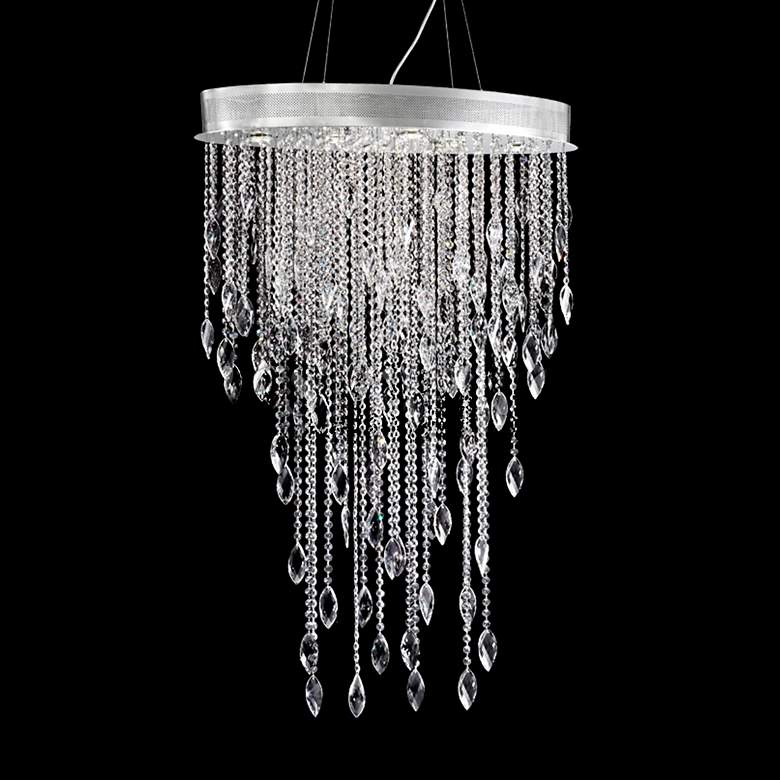 "Sculptured Leaf 30"" Wide Silver and Crystal Chandelier"
