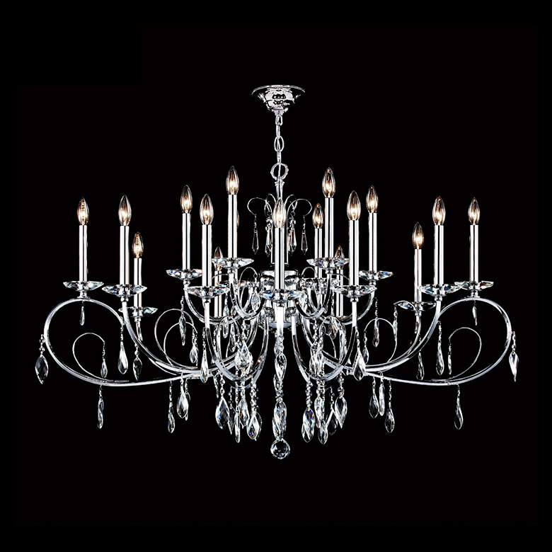 """Sculptured Leaf 48"""" Wide Silver 18-Light Crystal Chandelier"""