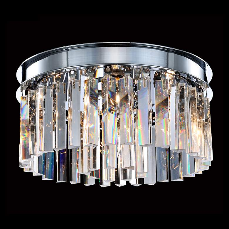 "James R. Moder Europa 12""W Silver and Crystal Ceiling Light"