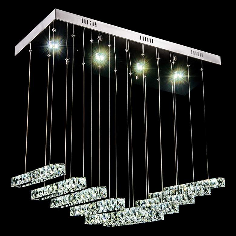 "James R. Moder Galaxy 29""W Silver LED Crystal Pendant Light"