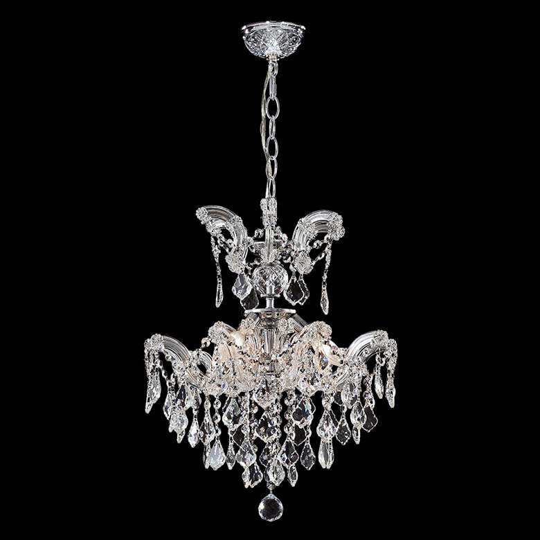 """Maria Theresa 16"""" Wide Silver and Crystal Chandelier"""