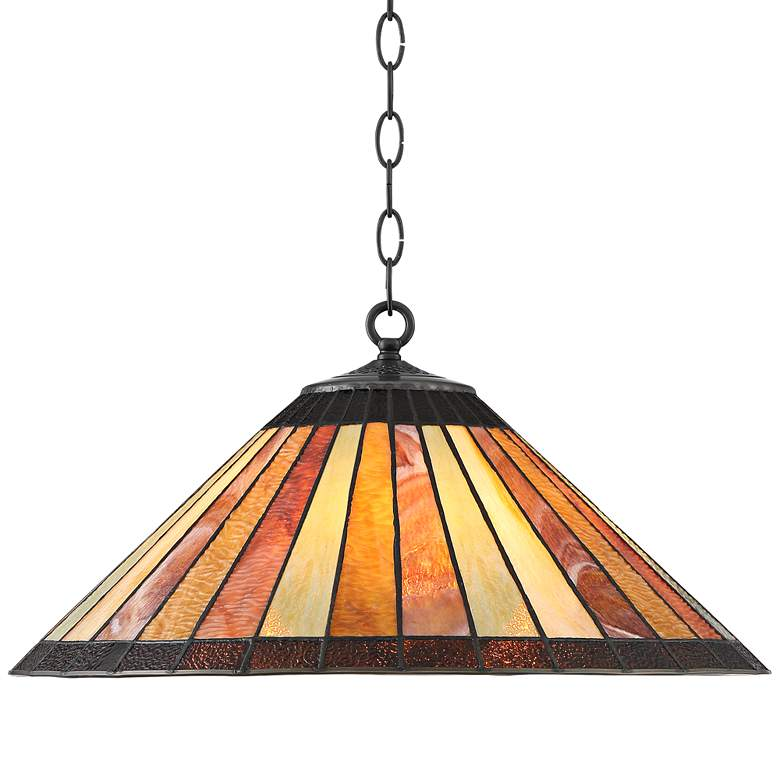 "Galileo 20"" Wide Striped Amber Art Glass 3-Light Pendant"