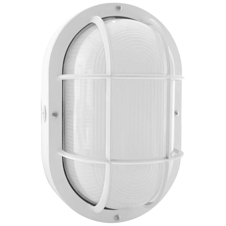 "Jessen 11 1/4"" High White LED Bulkhead Outdoor Wall Light"