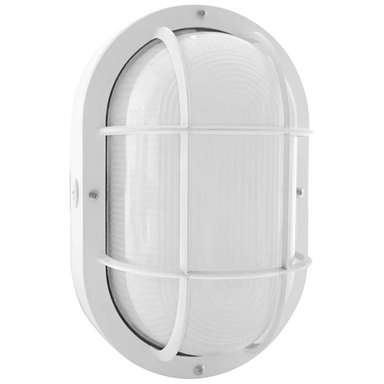 "Jessen 11/4"" High White LED Bulkhead Outdoor Wall Light"