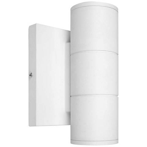 "Metro 6 3/4"" High Matte White LED Outdoor Dual Wall Light"