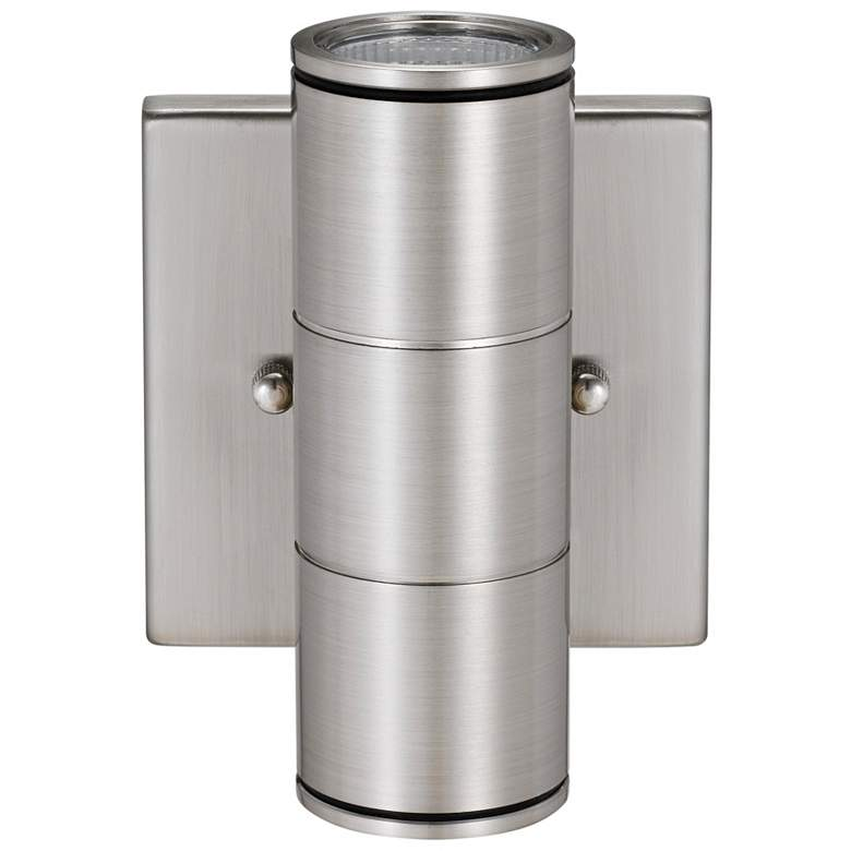 """Metro 6 3/4"""" High Brushed Nickel Dual LED Outdoor Wall Light"""