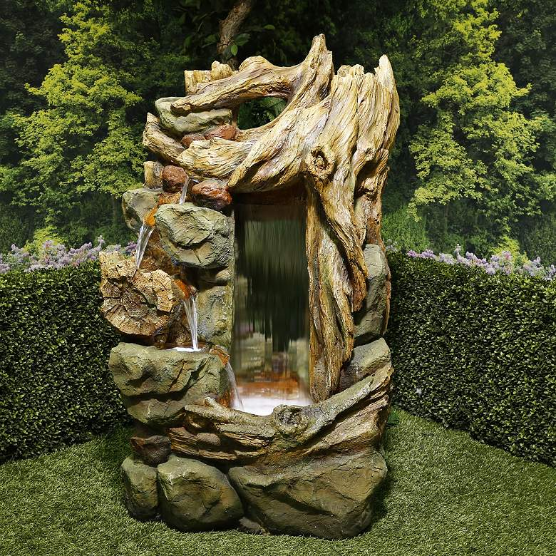 """Side Tiering 55""""H Rainforest Waterfall LED Floor Fountain"""