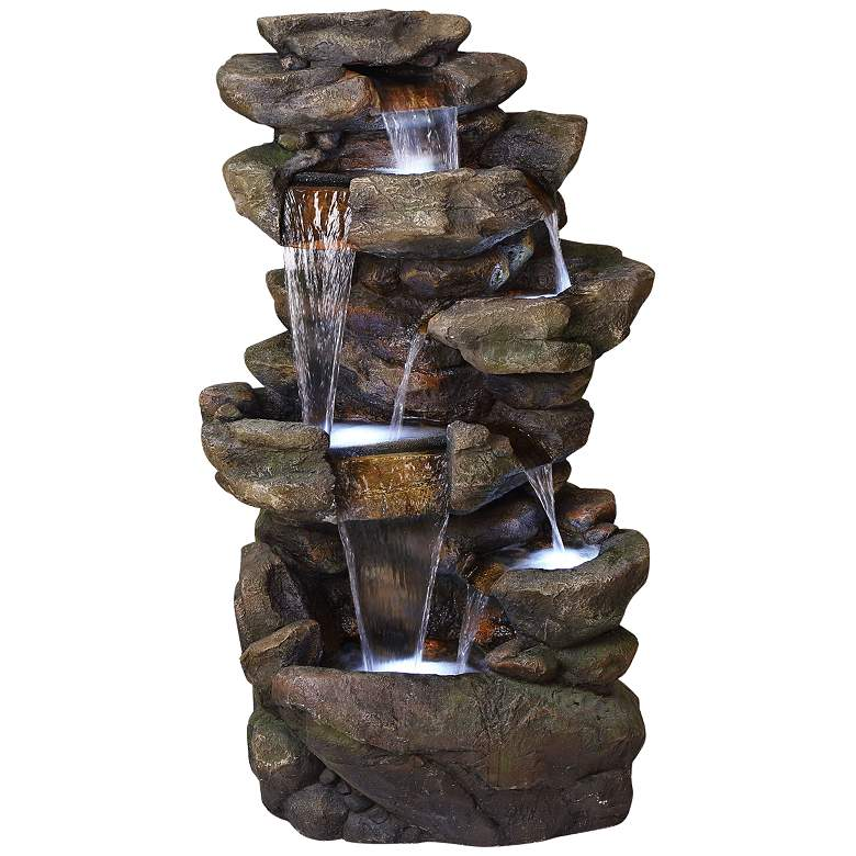 "Rainforest Rock Waterfall 51""H 6-Tier Outdoor LED Fountain"