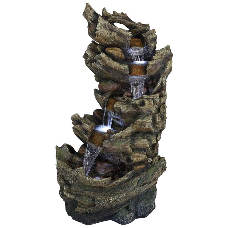 """Trunk Waterfall 47"""" High 5-Tier Outdoor LED Floor Fountain"""