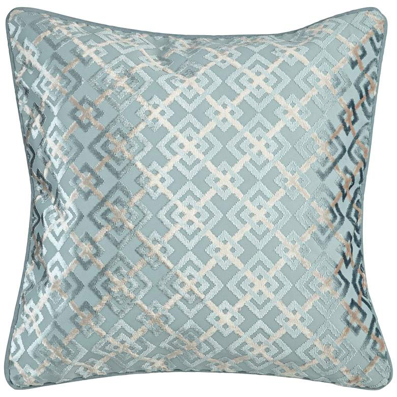 """Teal and Cloud Blue Patterned 20"""" Square Decorative Pillow"""