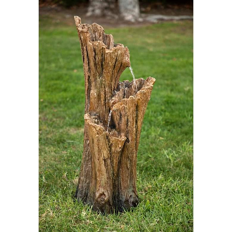 """Tree Trunk 39"""" High 3-Tier Indoor-Outdoor LED Floor Fountain"""
