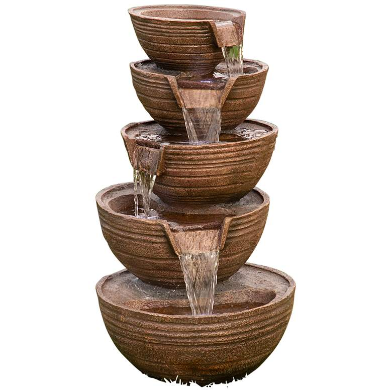 """Bowls 34"""" High 5-Tier Indoor-Outdoor LED Waterfall Fountain"""
