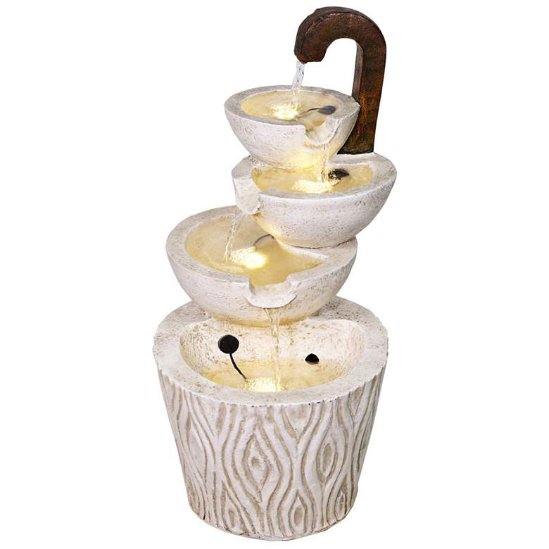 "Classic Modern Ivory Faucet 24""H 4-Tier LED Outdoor Fountain"