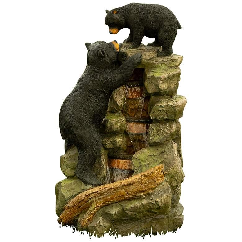 "Two Bear Climbing 36"" High Outdoor LED Waterfall Fountain"