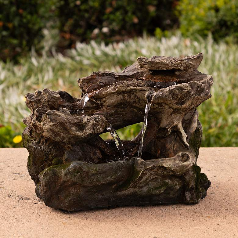 "Mossy Rainforest 10""H 3-Tier LED Outdoor Tabletop Fountain"