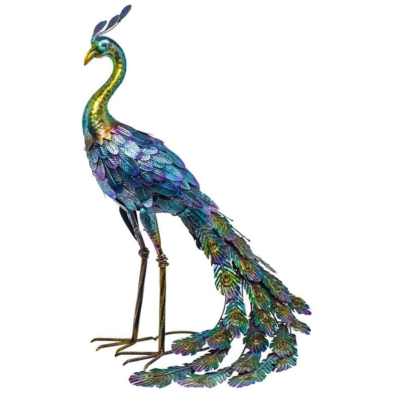"""Metallic Peacock 27"""" High Outdoor Garden Statue"""