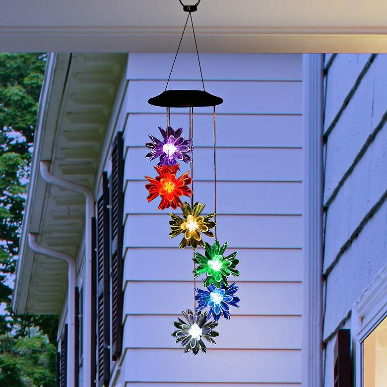 """Flower 27"""" High Solar Color-Changing LED Outdoor Wind Chime"""