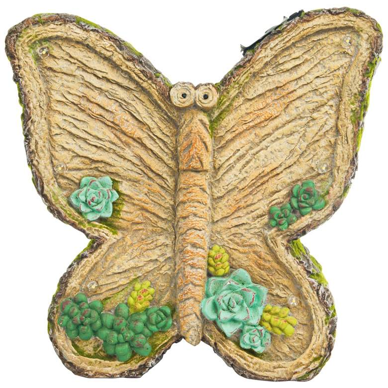 """Mossy Butterfly 12"""" High Solar LED Outdoor Garden Statue"""