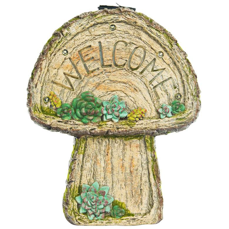 "Welcome Mushroom 14"" High Solar LED Outdoor Garden Statue"