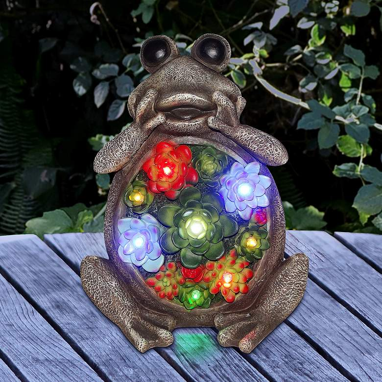 """Frog with Flower 12"""" High Solar LED Outdoor Garden Statue"""