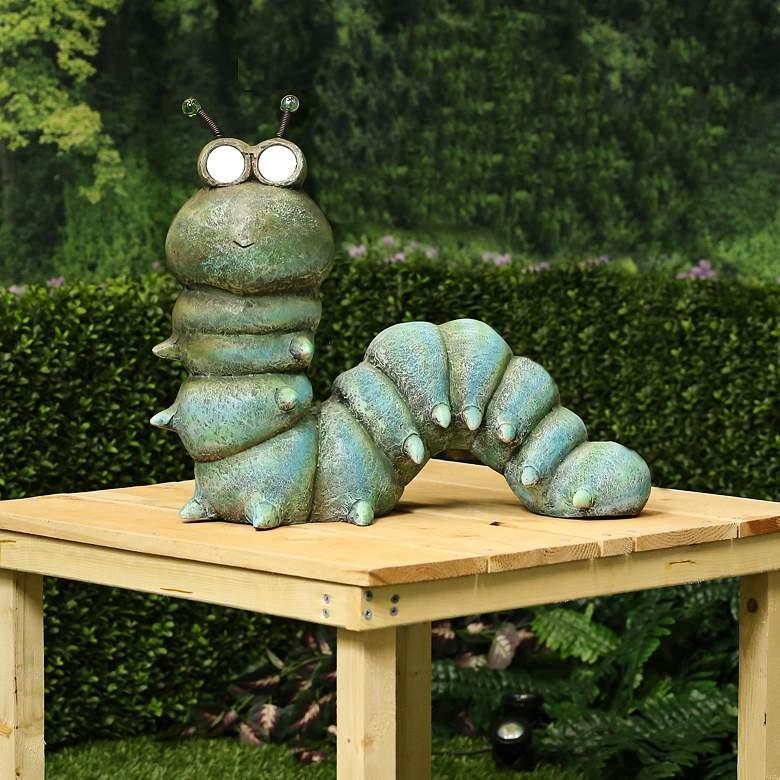 """Adorable Green Caterpillar 18"""" Wide Solar LED Garden Statue"""