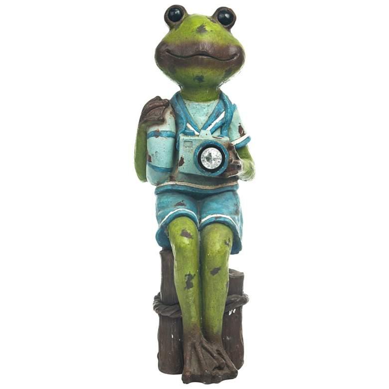 "Sitting Sailor Frog 32"" High Solar LED Outdoor Garden Statue"