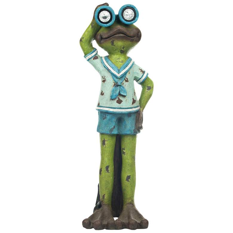 "Standing Sailor Frog 36""H Solar LED Outdoor Garden Statue"
