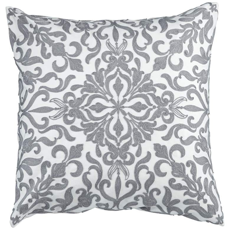 "White and Gray Floral Weave 20"" Square Decorative Pillow"