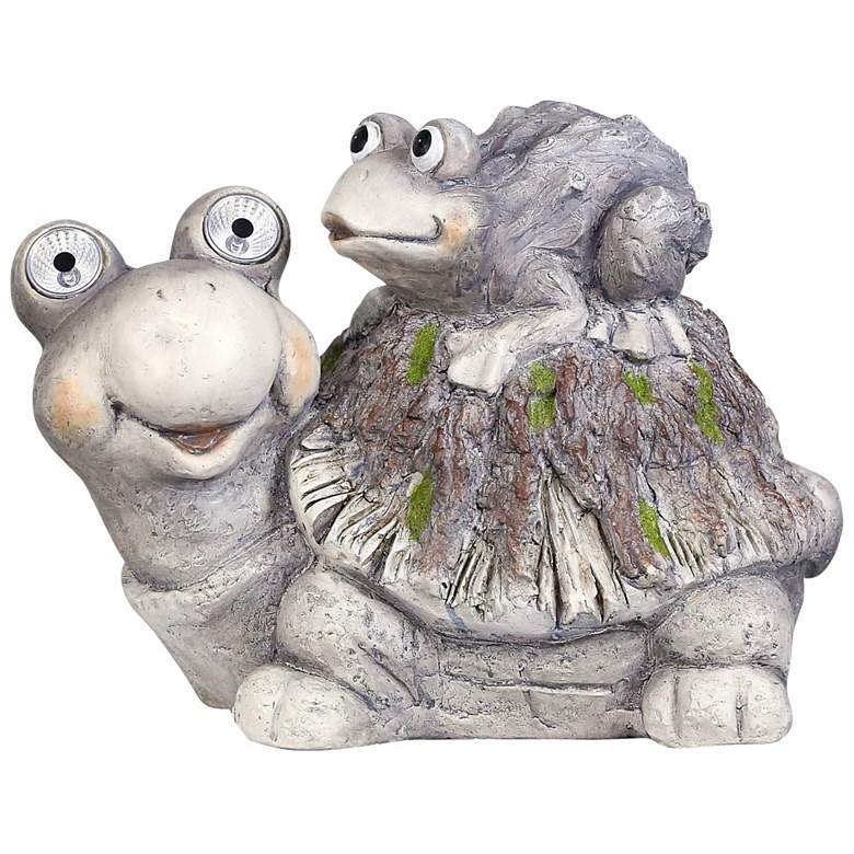 """Turtle And Hatchling 14""""W Solar LED Outdoor Garden Statue"""