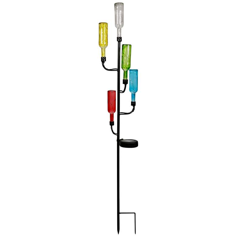 """Glass Bottle Tree 37"""" High Solar LED Decorative Garden Stake"""