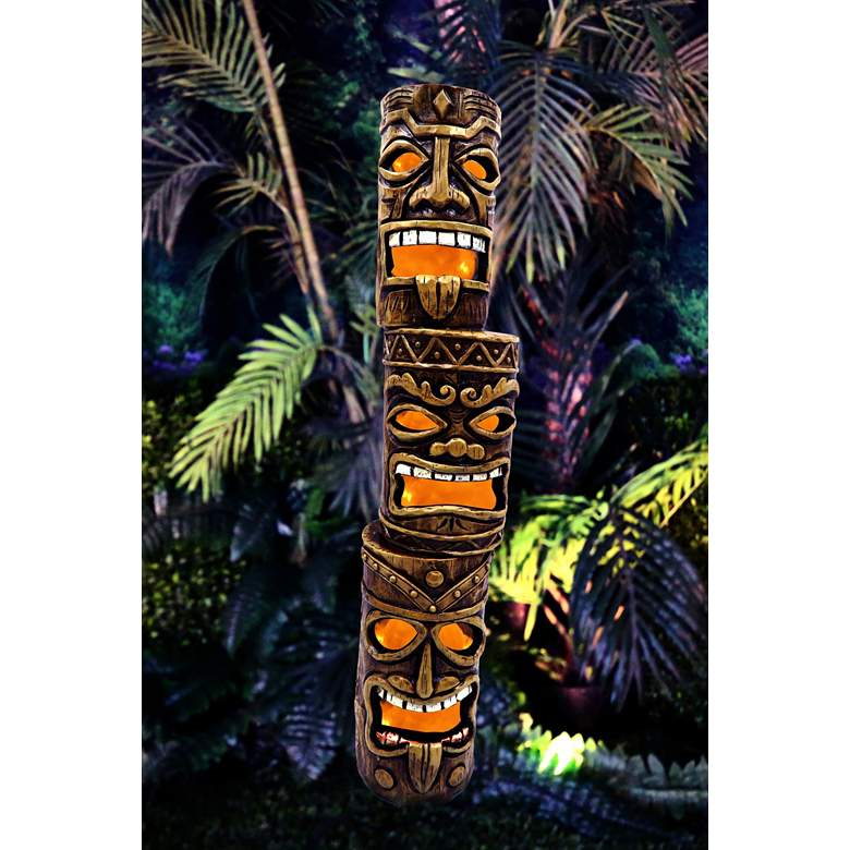 "3-Tier Tiki Totem Brown 20"" High Solar LED"