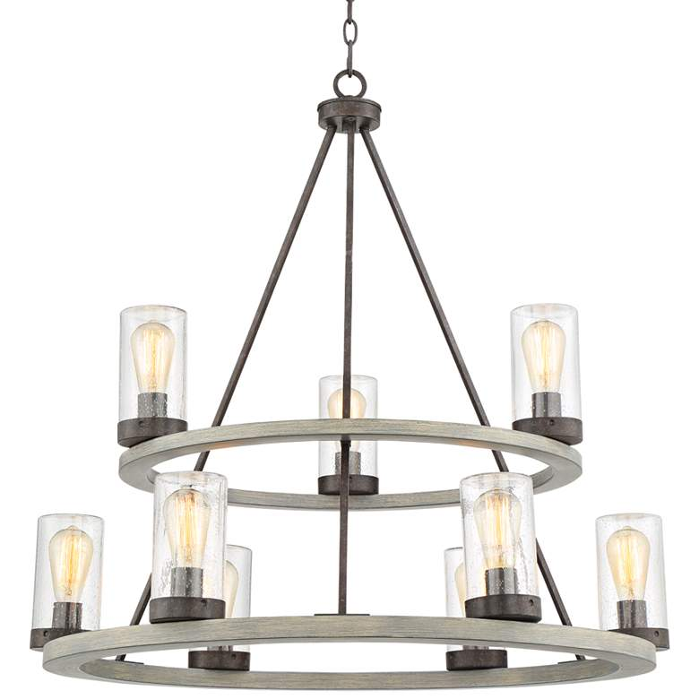 "Lillian 34"" Wide Gray Wood and Bronze 9-Light Chandelier"