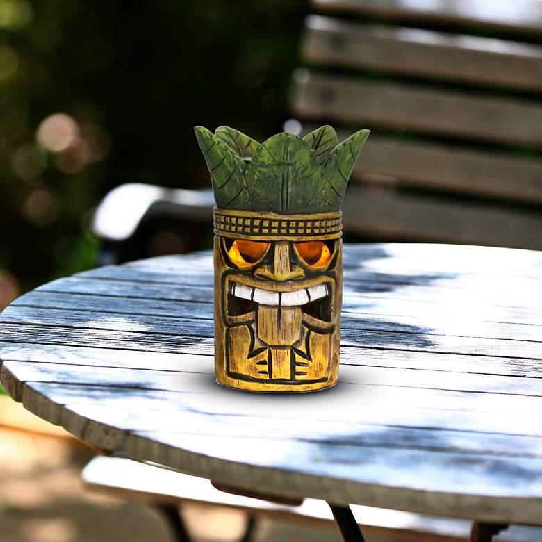 "Tribal Tiki Brown 8"" High Solar LED Garden Accent"