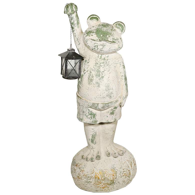 "Mossy Green Frog Holding Lantern 26""H Indoor-Outdoor Statue"