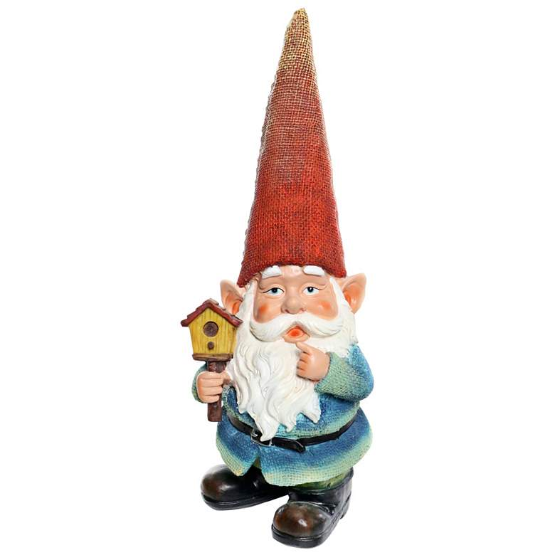 "Gnome Holding a Bird House 15"" High Outdoor"
