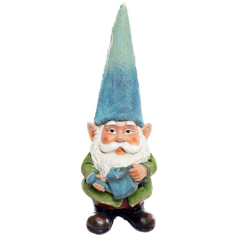 """Gnome Holding a Water Can 15"""" High Outdoor Garden Statue"""