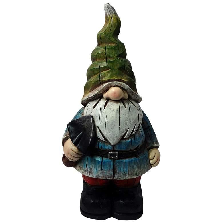 "Green Hat Gnome 17"" High Outdoor Garden Statue"