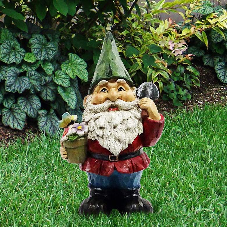 """Gnome with Flower Pot 12"""" High Outdoor Garden Statue"""