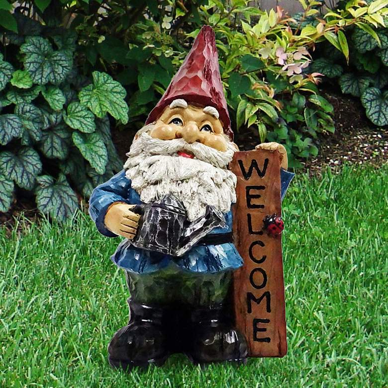 """Gnome with Welcome Sign 12"""" High Outdoor Garden Statue"""