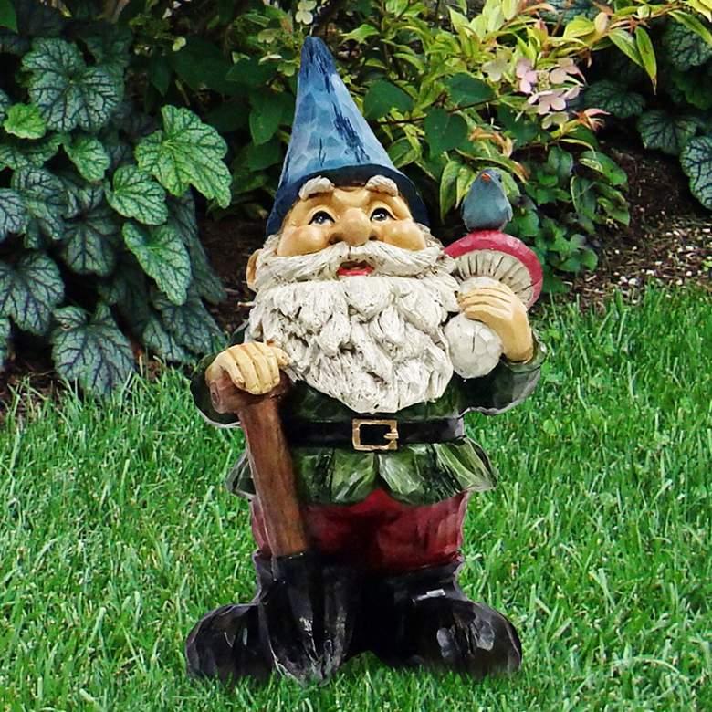 """Gnome with Shovel 12"""" High Outdoor Garden Statue"""